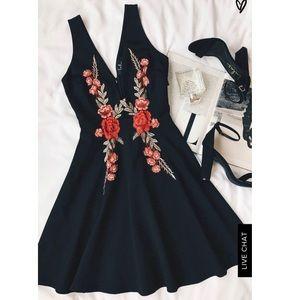 Lulus • ROMANTIC ROSE BLACK EMBROIDER SKATER DRESS